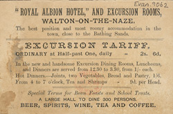 Advert for the Royal Albion Hotel, reverse side